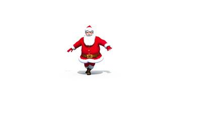 Santa jumps and clicks heels loop with alpha matte