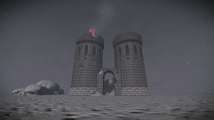 Medieval castle destroyed after battle in the snow