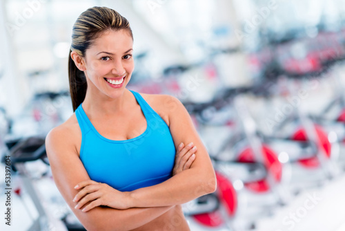Confident woman at the gym