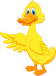 Cute duck cartoon waving