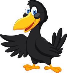 Cute raven cartoon waving