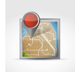 map icon with Pin Pointer illustration design