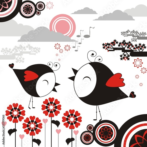 Bird sing flower graphic vector