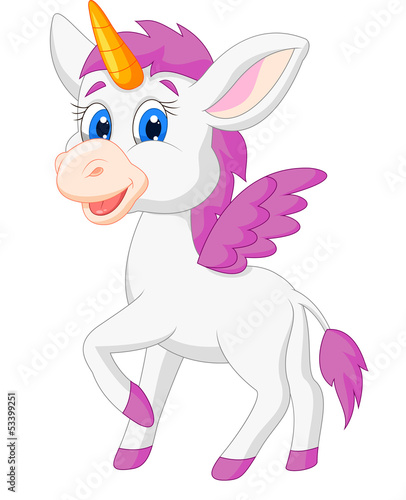 Poster Pony Cute unicorn cartoon