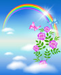 Rainbow in the sky and flowers