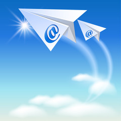 Two paper airplane with e-mail sign