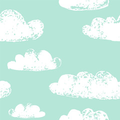 White clouds grunge prints on teal blue seamless pattern, vector