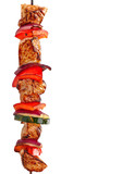 grilled meat kebab on white background