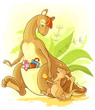Funny cartoon vector family kangaroo walk. Mother with her baby