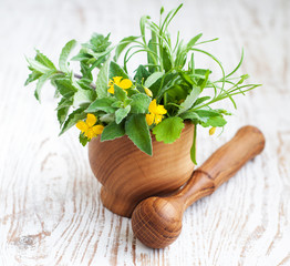 Mortar with herb