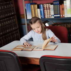 Schoolgirl Reading Books At Table