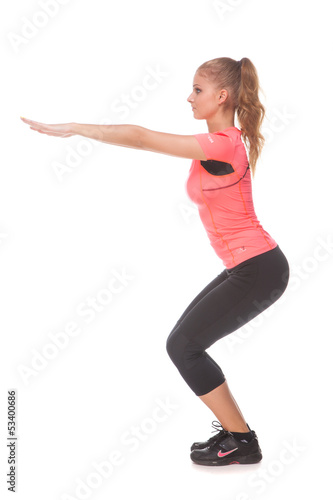 Girl doing sport exercise