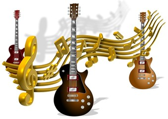 Music notes and guitars