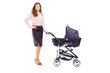 Full length portrait of a mother with a stroller