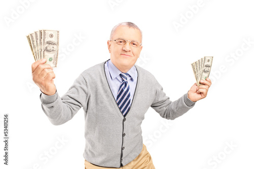 Happy senior man holding money bankontes