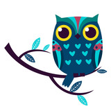 Cute owl isolated vector illustration.
