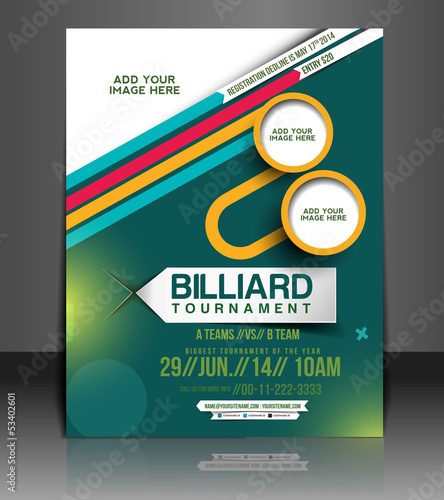 vector Billiard flyer, poster, magazine cover