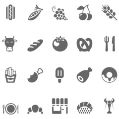 food icons gray set 2