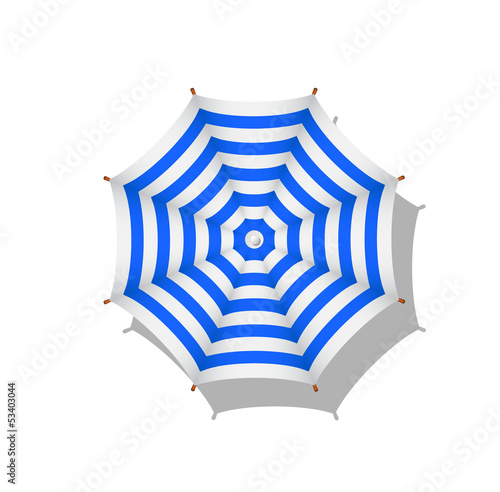 Blue and white striped beach umbrella