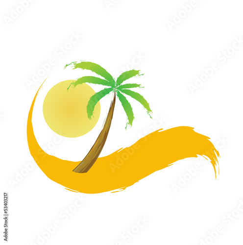 palm tree in the desert, vector illustration