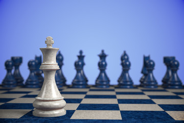 chess: standing alone in front of a heavy competition