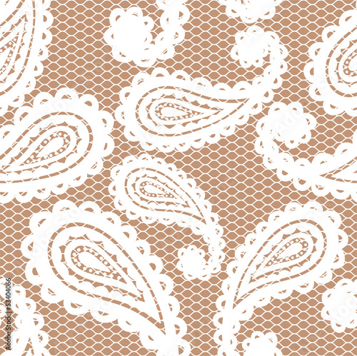 Lace white seamless pattern with paisley on beige background