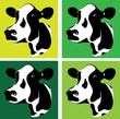 a set of three green cow heads