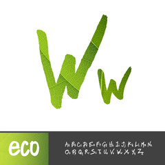 Letter W, Uppercase And Lowercase Variants. Green leaf textured