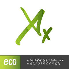 Letter X, Uppercase And Lowercase Variants. Green leaf textured