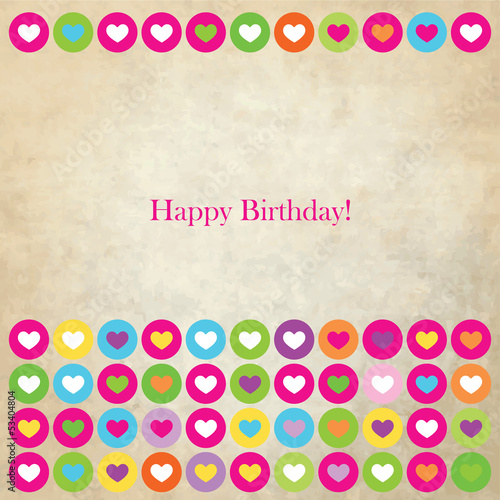 Happy Birthday card with colorful hearts