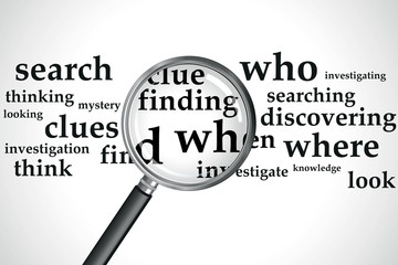 a magnifying glass over a selection of words