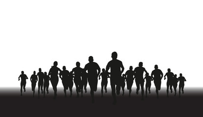 a silhouette of a group of runners
