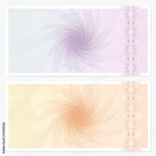 Gift certificate / Voucher / Coupon template. Guilloche pattern