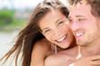 Happy romantic couple on beach in love