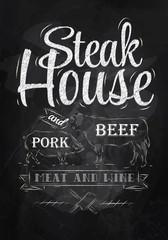 Poster Steak House chalk drawing