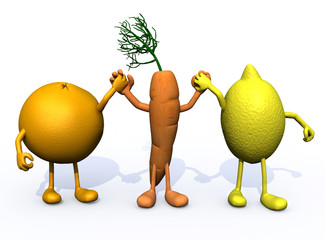 orange, carrot and lemon with arms and legs