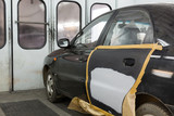 Preparing the car for painting on body shop