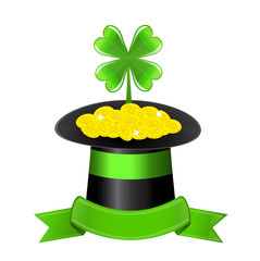 hat, clover and golden coins