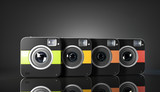 Group of colorful squared cameras