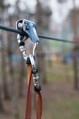 safety tether springhook and rope part of climbing equipment