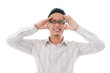 asian chinese business male having headache isolated white backg