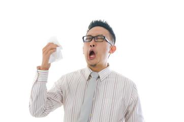 asian business man having a sick flu, sneeze