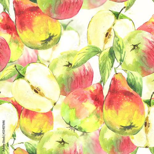 Fototapeta do kuchni Seamless background, watercolor pears and apples