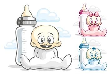 Babes and feeding bottle