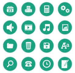 Set 1 icônes bureau vintage