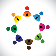 Concept vector graphic- colorful company executives ring icons(s