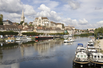 Auxerre, France. Cityscape with Yonne river
