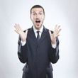 young businessman surprised face expression