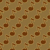 Brown gold seamless pattern with musical signs