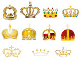 eleven gold crowns isolated on white